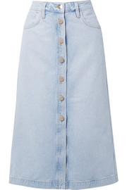 Goldsign The Button Front denim midi skirt