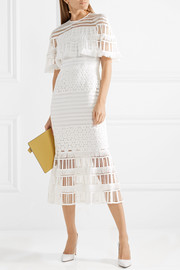 Fringed crocheted lace midi dress