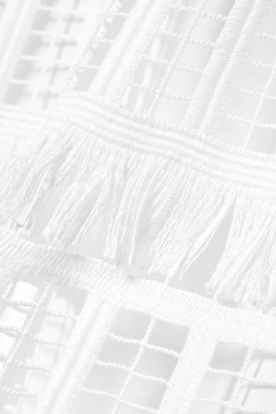 Lela Rose Oberteil aus Häkelspitze mit Schößchen und Fransen