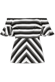 Lela Rose Off-the-shoulder striped cotton and silk-blend top