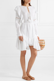 Weatherly crochet-paneled cotton-blend dress