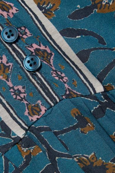 SEA Kaylee bedrucktes Kleid aus Voile aus einer Baumwollmischung mit Häkelbesatz