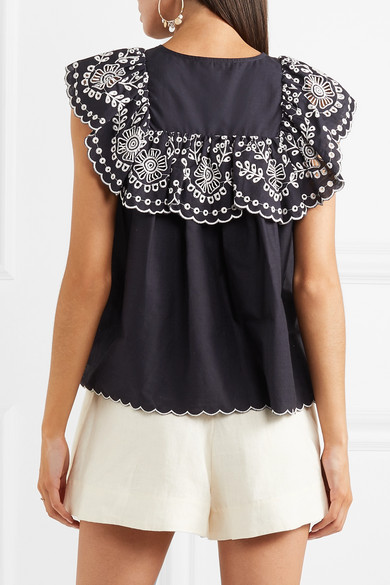 5a91577fd Ruffled broderie anglaise-trimmed cotton top