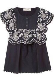 Ruffled broderie anglaise-trimmed cotton top