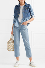 Two-tone peplum denim jacket