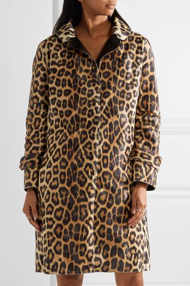 House of Fluff Mantel aus Faux Fur mit Kunstlederbesätzen und Leopardenprint