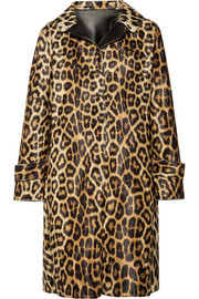 Faux leather-trimmed leopard-print faux fur coat