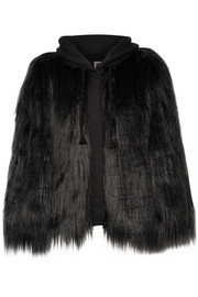Yeti oversized faux fur and French terry hooded coat