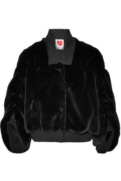 HOUSE OF FLUFF Teddy Stretch Cotton-Trimmed Faux Shearling Bomber Jacket in Black