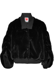 Teddy stretch cotton-trimmed faux shearling bomber jacket