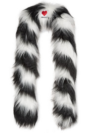 Zig Zag Yeti striped faux fur scarf