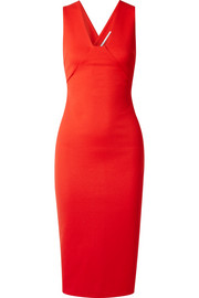 Cutout stretch-cady midi dress