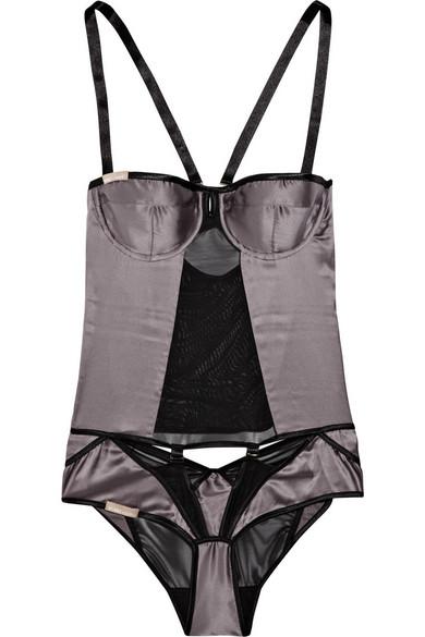 746cb0c4983e Nichole de Carle | Westminster silk-satin and mesh bodysuit | NET-A ...
