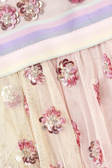 Needle & Thread Rainbow verziertes Midikleid aus Tüll mit Rüschen