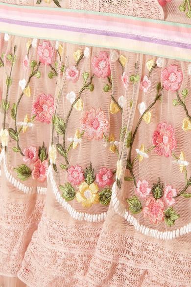 Needle & Thread Abgestuftes Tüllkleid mit Rüschen