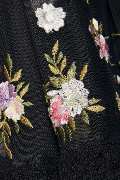 Needle & Thread Prism Ditsy bestickte Robe aus Tüll mit Spitzenbesätzen