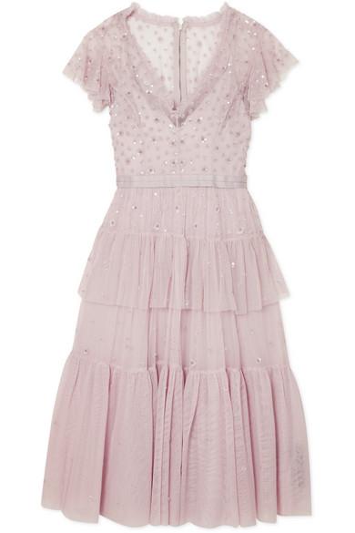 Needle & Thread Mirage gestuftes Kleid aus Tüll mit Verzierung
