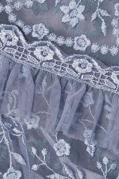 Needle & Thread Iris stufenförmiges Minikleid aus Tüll mit Stickereien und Spitzenbesatz