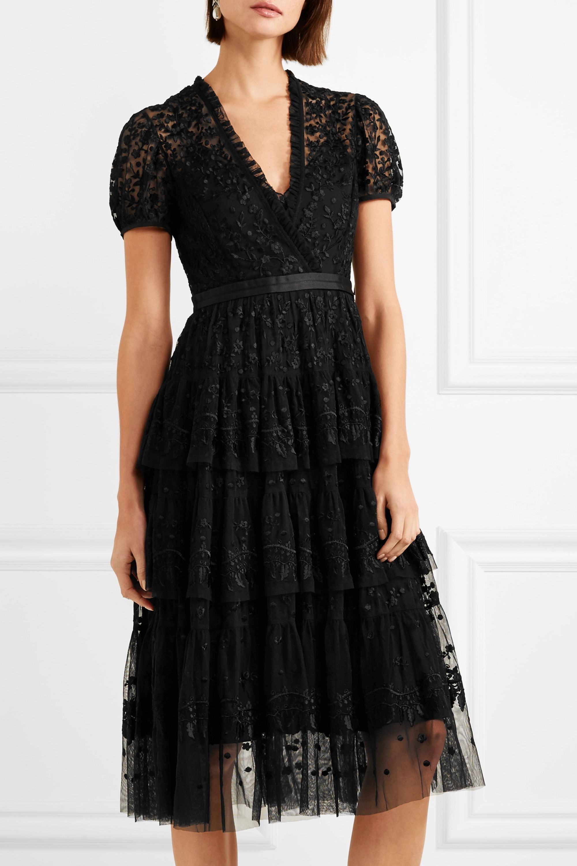 Needle & Thread Tiered embroidered tulle midi dress
