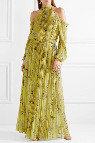 27b4ba05a82f Self-Portrait | Cold-shoulder printed pleated chiffon maxi dress ...