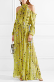 Cold-shoulder printed pleated chiffon maxi dress