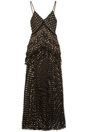 Self-Portrait Cutout lace-trimmed pleated metallic fil coupé chiffon maxi dress