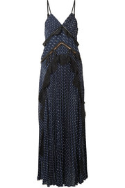 Self-Portrait Cutout lace-trimmed pleated fil coupé chiffon maxi dress