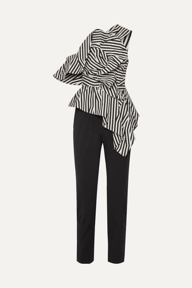 Self-Portrait Gestreifter Jumpsuit aus Popeline mit Rüschen