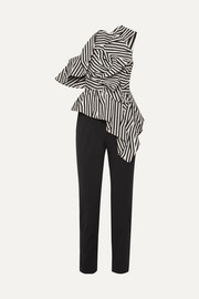 Self-Portrait Ruffled striped poplin jumpsuit