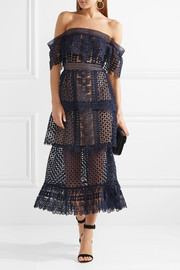Off-the-shoulder tiered guipure lace midi dress