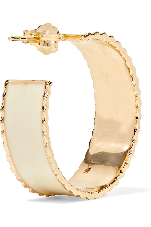 Alison Lou Lasagna Small 14-karat gold and enamel hoop earrings