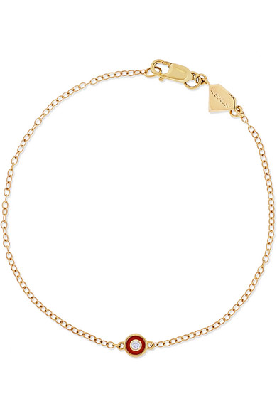 Alison Lou SINGLE BEZEL 14-KARAT GOLD, DIAMOND AND ENAMEL BRACELET