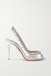 Aquazzura Temptation embellished metallic leather and PVC slingback pumps
