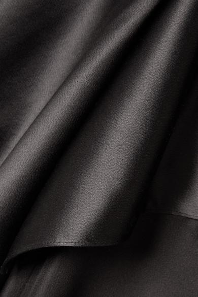 Narciso Rodriguez Midikleid aus gehämmertem Satin und Seiden-Crêpe mit asymmetrischer Schulterpartie