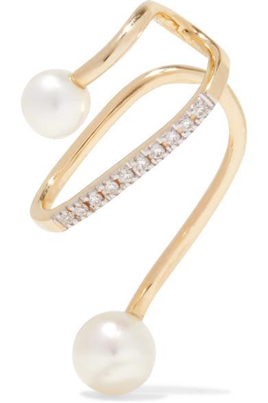 Maria Black Skyrush 14-karat Gold, Diamond And Pearl Ear Cuff