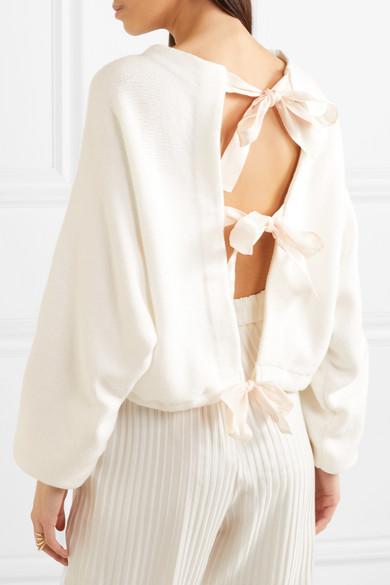 ADEAM Verkürzter Pullover aus einer Baumwollmischung mit Bindedetails