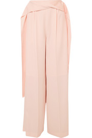 Adeam Satin-trimmed crepe wide-leg pants