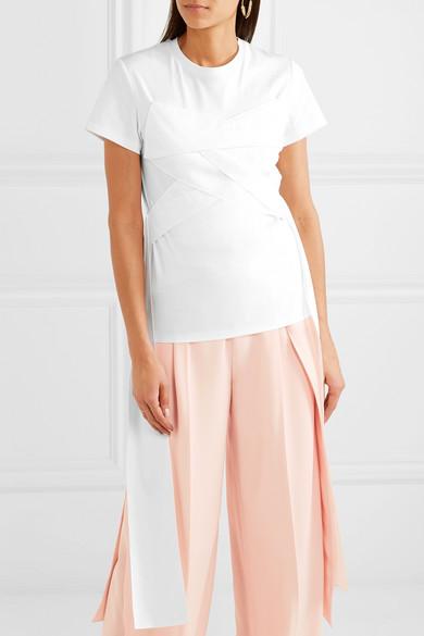 ADEAM T-Shirt aus Baumwoll-Jersey mit überkreuzter Vorderseite