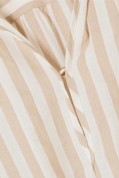 Nanushka Tala Midikleid aus einer Baumwoll-Leinenmischung mit Streifen
