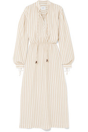 Tala striped cotton and linen-blend midi dress