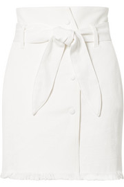 Sedu belted frayed stretch-denim mini skirt