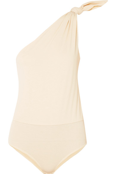Becca One Shoulder Cotton Blend Jersey Bodysuit by Nanushka