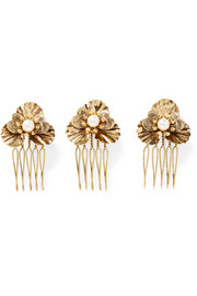 LELET NY Poppy Petite set of three gold-plated faux pearl hair slides
