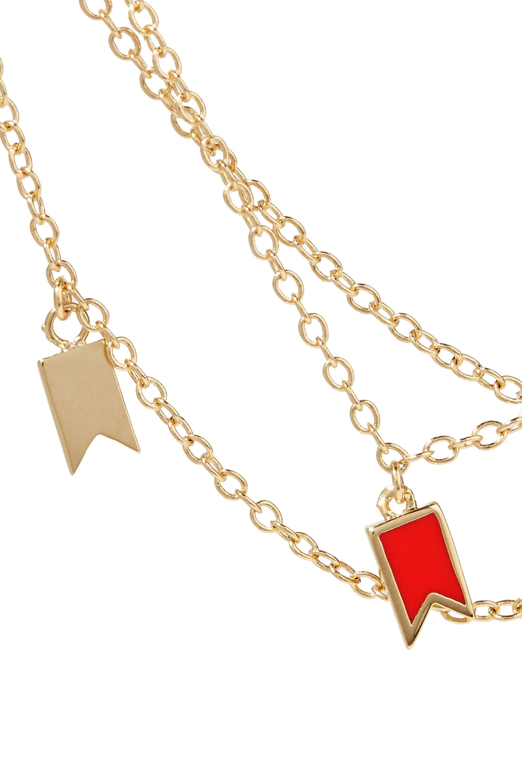 Arme De L'Amour Lucky gold-plated enamel anklet