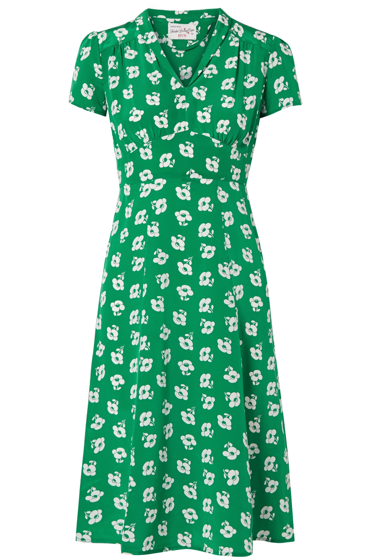 HVN Morgan floral-print silk crepe de chine midi dress