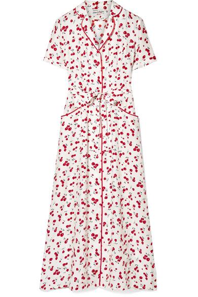 Long Maria Printed Silk Crepe De Chine Midi Dress - White HVN ssxLXWi60c