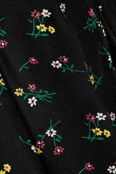 HVN Long Maria Midikleid aus Crêpe de Chine aus Seide mit Blumendruck