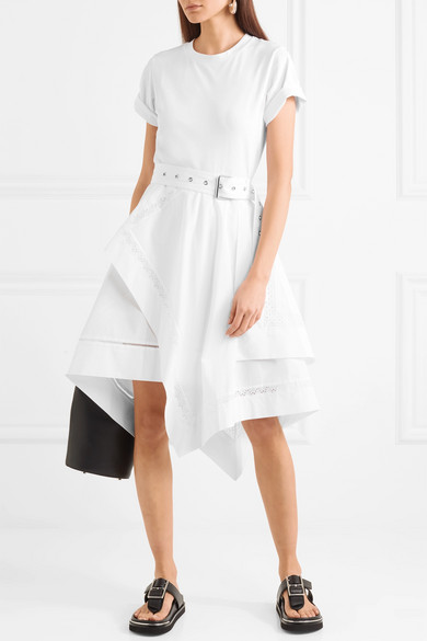 3.1 Phillip Lim Asymmetrical Dress In Cotton-jersey And Poplin With Belt