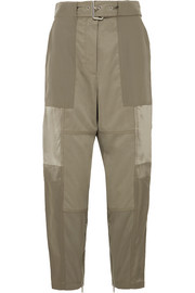 Paneled silk-satin, washed-silk and twill tapered pants
