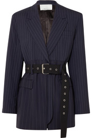 3.1 Phillip Lim Oversized belted pinstriped wool-blend blazer
